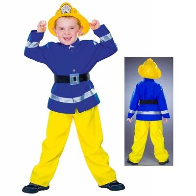 Feuerwehr Kostüm gelb - blau + Helm Kinder Feuerwehrmann Feuerwehrhelm -