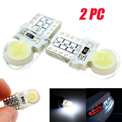 2PC T10 194 168 W5W COB 8 SMD LED CANBUS Silica Bright White License Light Bulb