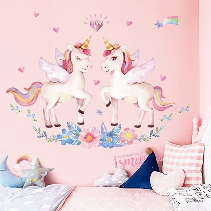 Home Decoration - Unicorn Wall Sticker Rainbow Wall Decal Art Girls Bedroom Nursery Home 60x90cm