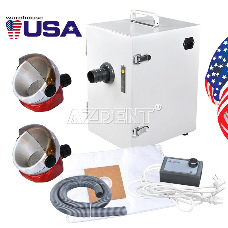 Dental Lab Digital Single-Row Dust Collector Vacuum Cleaner + 2x Suction Base US