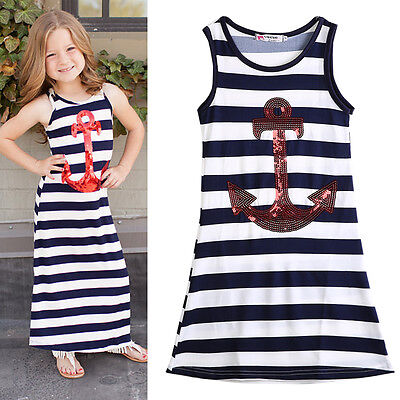 US Stock Toddler Kids Girls Sequins Anchor Summer Casual Dress Sundress Clothes (Casual Girls Clothes)