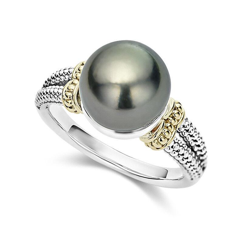 Elegant Women Wedding Rings 925 Silver Jewelry Round Cut Bla
