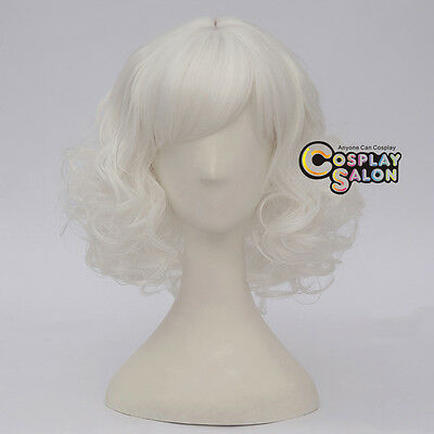 Lolita White Curly 35cm Short Women Synthetic Cosplay Basic Wig Heat Resistant
