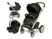 JOIE CHROME COMPLETE BABY TRAVEL SYSTEM PUSHCHAIR COT BABY CAR SEAT INCLUDING ISOFIX BASE COST £300!