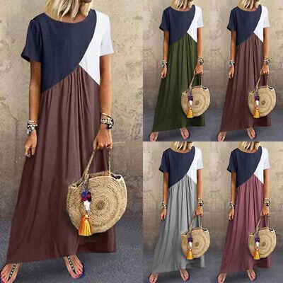 Woman Boho Summer Joint Irregular Sundress Oversize Short Sleeve Long Maxi Dress Jointed Cotton Women Dresses