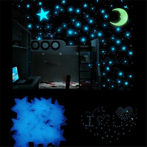 Blue 100 3D Wall Ceiling Glow In The Dark Stars with Moon Kids Plastic Stickers