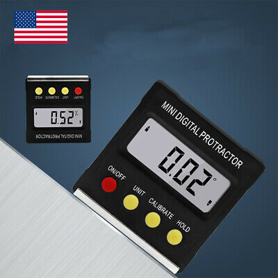 Usa Lcd Digital Protractor Bevel Angle Magnetic Gauge Level Meter Inclinometer