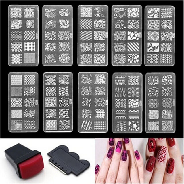 Nail Art Stamp Stencil Stamping Template Plate Set Tool Stamper