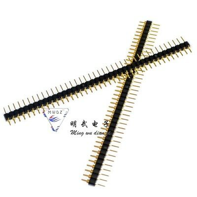 10 Pcs Gold Plated 2.54mm Male 40 Pin Single Row Straight Round Pin Header Strip