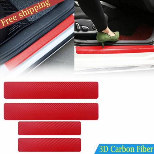 Car Parts - Parts Accessories Carbon Fiber Red Car Door Sill Scuff Plate Sticker Protector