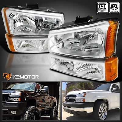 03-07 Silverado Chrome Headlights+Clear Bumper Lamps 4pcs