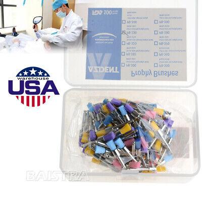 100pcs Dental Rubber Prophy Tooth Teeth Polish Polishing Cups Brush Flat Type