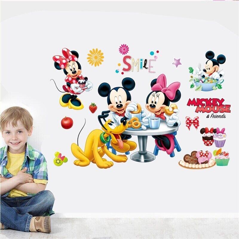 Cartoon Mickey Minnie Wall Stickers For Children Bedroom Wal