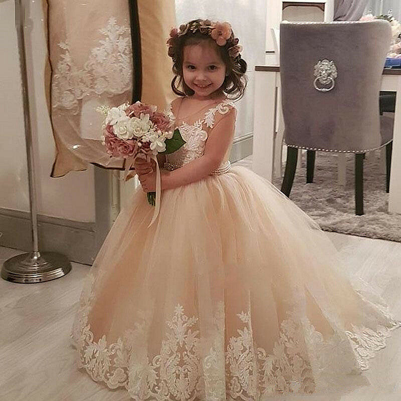 Lace Flower Girl Dress Maxi Long Formal Ball Gown Kid Wedding Bridesmaid Dresses | eBay