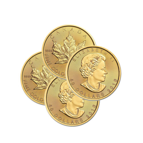 Lot of 4 Canadian 1 oz. Gold Maple Leaf .9999 fine Random Year BANK WIRE ONLY