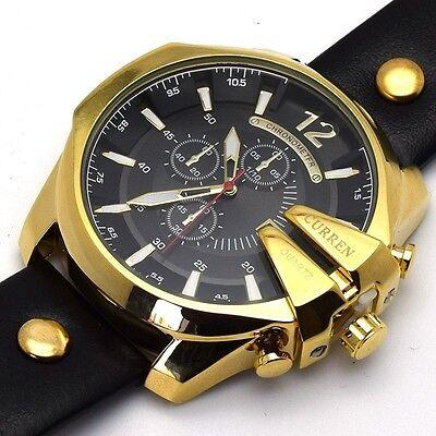 CURREN Men Luxury Stainless Steel Quartz Leather Sport Army Military Wrist Watch