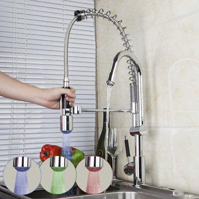 Led 360 Swivel 2 Handle Kitchen Faucet Sink Mixer Sprayer Pull Down Spout Tap Ebay