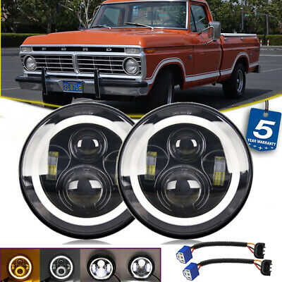 """Pair DOT 7"""" Round Halo LED Headlight For Ford F-100 F-250 F-350 Pikcup 1969-1974"""