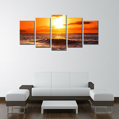 Canvas Print Home Decor Wall Art Sea Sunrise Orange Landscape Painting Framed