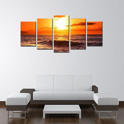 Canvas Print Home Decor Wall Art Sea Sunrise Orange Landscape Painting Framed