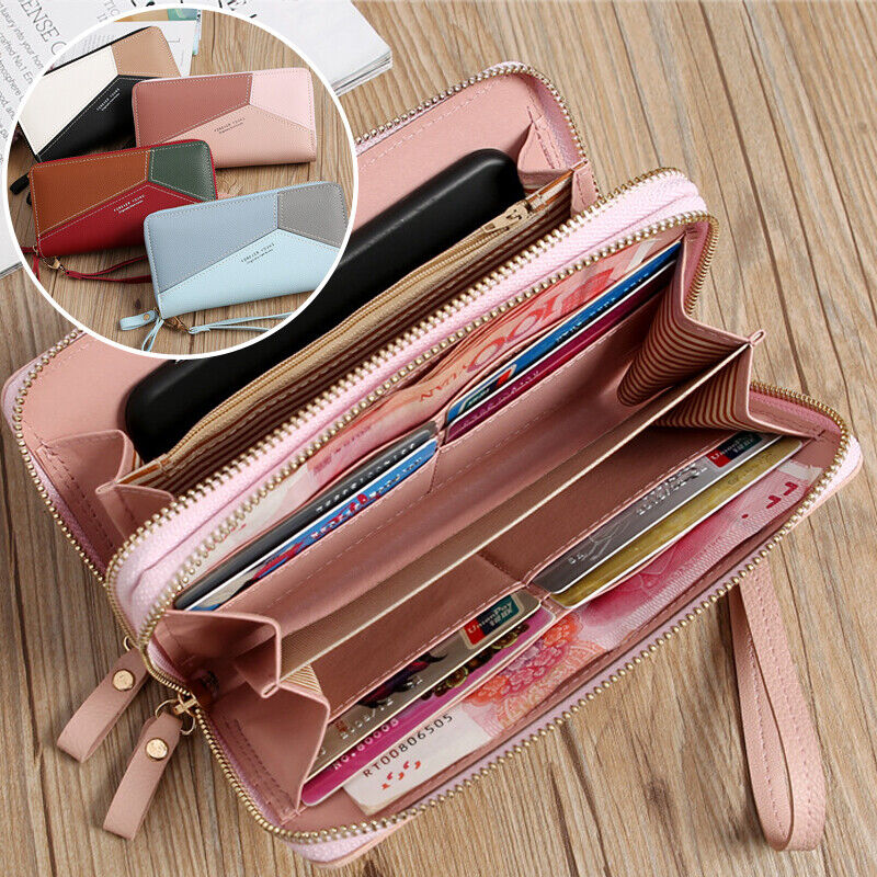 Double Zipper Long Clutch Phone Wallet for Women with Removable Wristlet Strap Clothing, Shoes & Accessories