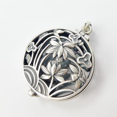 Flower Pendant Locket - Brushed Sterling Silver Cutout Ornate Lotus Flower Round Locket Charm Pendant
