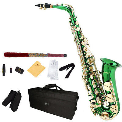 Mendini Eb Alto Saxophone Sax w/ CareKit ~Gold Silver Blue Green Purple Red on Rummage