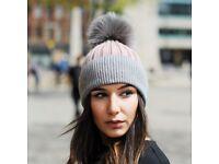 DAYMISFURRY--Pink And Grey Wool Beanie Hat With Silver Fox Fur Pom Pom