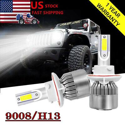 For Jeep Wrangler JK 2018 H13 9008 LED Headlight Hi/Low Beam Conversion Bulb Kit