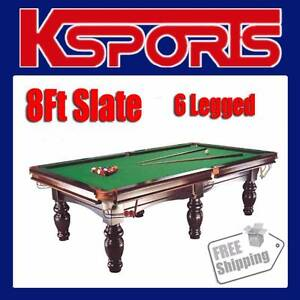 PUB SIZE POOL TABLE 8FT SLATE BILLIARD SNOOKER TABLE GREEN - M Somerton Hume Area Preview
