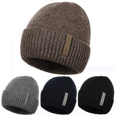 Fleece Walking Hat - Mens Beanie Hat Fleece Lined Thermal Ski Skull Cap Walking Hiking Warm Hats