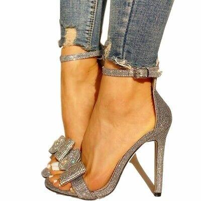 Elegant High Heel Shoes Stiletto Crystal Bow Knot Women Pumps Peep Toe Gladiator Crystal High Heel