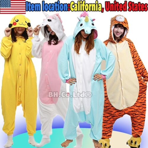 US NEW Kigurumi Pajamas Anime Cosplay Costume Unisex Adult Kids Sleepwear Outfit