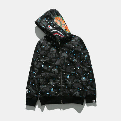 BAPE A BATHING APE MEN'S CAMO SHARK SWEARER SPACE FULL ZIP COAT JACKET HOODIE