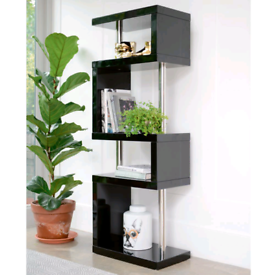 DWELL 'Contour' Slim Black Gloss & Chrome 4 Tier Shelving/Storage Unit