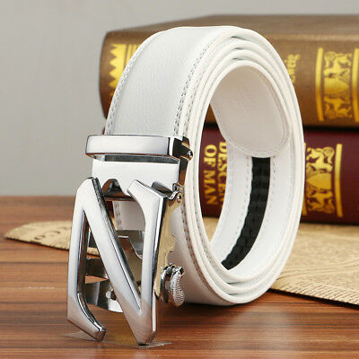 (Mens White Belts Genuine Leather Belt Z Automatic Buckle Fashion Waist Strap 48