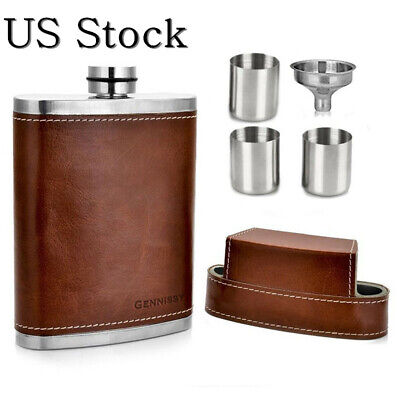 US Stock Men 8oz Brown Leather Covered Hip Flask With Caps Stainless Steel (Mens Flask)