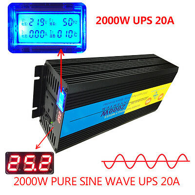 LCD 4000W peak 2000W Pure Sine Wave Power Inverter 24V DC to 230V AC UPS Charger