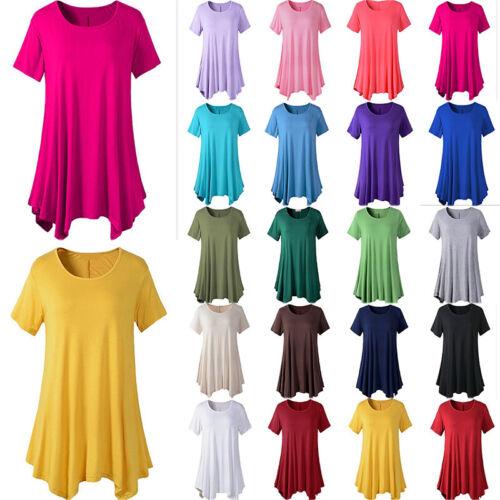Women Summer Short Sleeve Swing Blouse Casual Loose Crew Neck Tunic T-shirt Tops