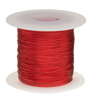 "22 AWG Gauge Enameled Copper Magnet Wire 1.0 lbs 507' Length 0.0263"" 155C Red"