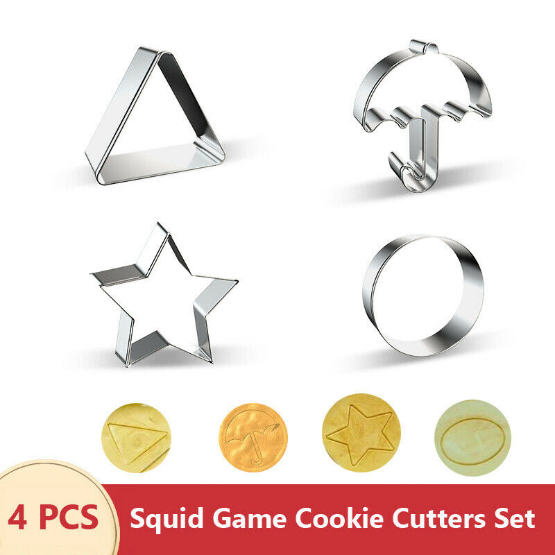 Squid Game Cookie Cutters Set of 4, Umbrella, Triangle, Circle, Star