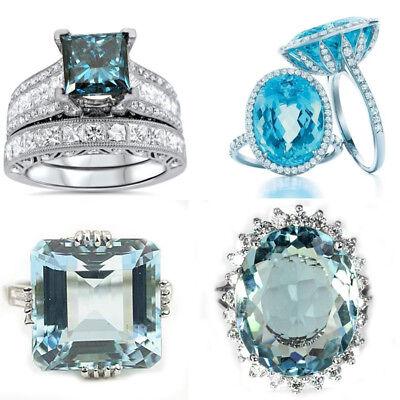 Aquamarine Jewelry - Aquamarine 925 Silver Women Jewelry Ring Wedding Gift Engagement Size 6-10