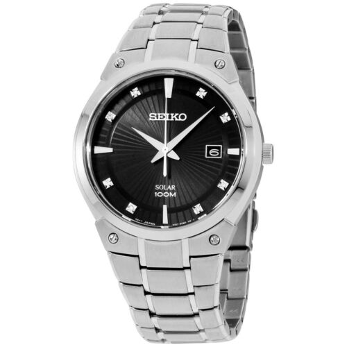 Seiko® Men's Solar Silvertone Watch With Diamond Accents