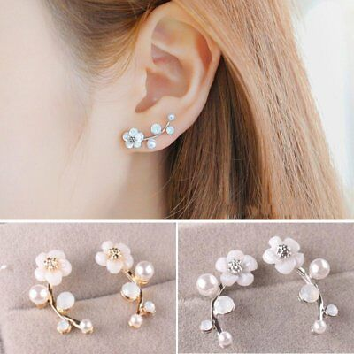 June Birthstone Flower - 1 Pair Fashion Pearl Flower Ear Stud Earrings Elegant Women Jewelry Gift Party