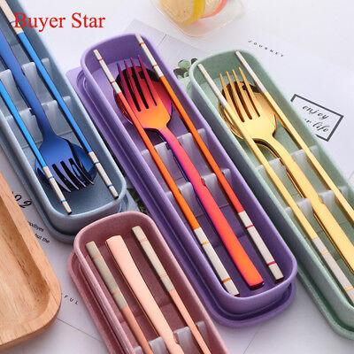 Korean Cutlery Square Steel Stainless Child Chopsticks Fork Spoon Dinnerware Set (Kids Cutlery Set)