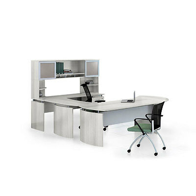 Laminate Executive 72 Desk U-shaped Package Right Textured Sea Salt Finish