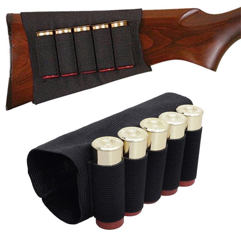 5pcs Shotgun Rifle Buttstock 5 Rounds 12//20 GA Gauge Shell Cartridge Ammo Holder