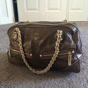 Authentic Gucci Brown Leather Shoulder Bag