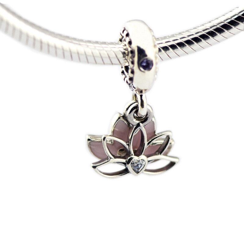 116b146da Details about Serene Lotus Flower Hanging Charm 925 sterling silver pandora  charm Pink Enamel