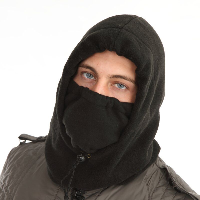Mens Ladies Grey Fleece Snood Neck Warmer Balaclava
